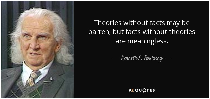 Theories without facts may be barren, but facts without theories are meaningless. - Kenneth E. Boulding