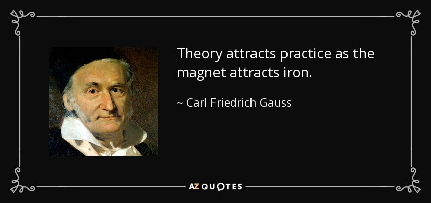 Carl Friedrich Gauss quote: Theory attracts practice as the magnet attracts  iron.