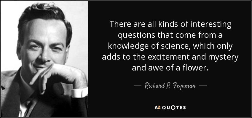 There are all kinds of interesting questions that come from a knowledge of science, which only adds to the excitement and mystery and awe of a flower. - Richard P. Feynman