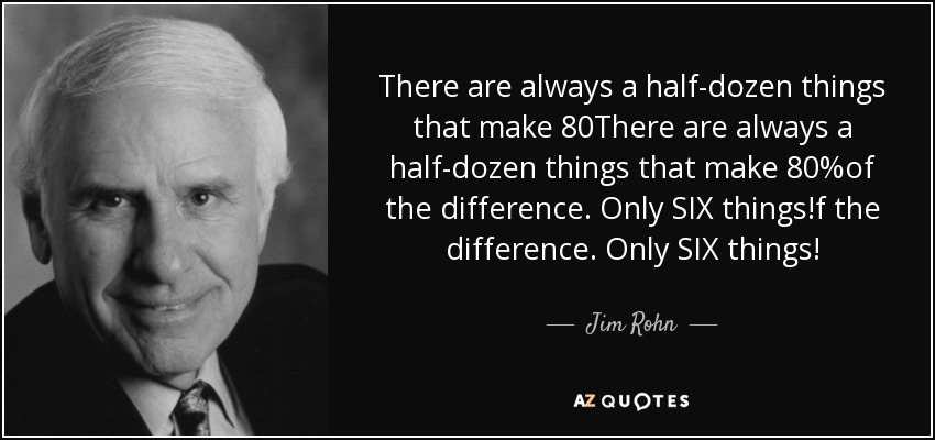 There are always a half-dozen things that make 80%of the difference. Only SIX things! - Jim Rohn