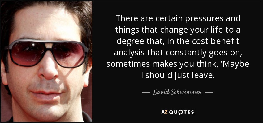 There are certain pressures and things that change your life to a degree that, in the cost benefit analysis that constantly goes on, sometimes makes you think, 'Maybe I should just leave. - David Schwimmer