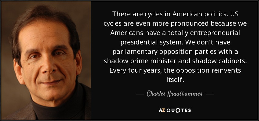 There are cycles in American politics. US cycles are even more pronounced because we Americans have a totally entrepreneurial presidential system. We don't have parliamentary opposition parties with a shadow prime minister and shadow cabinets. Every four years, the opposition reinvents itself. - Charles Krauthammer