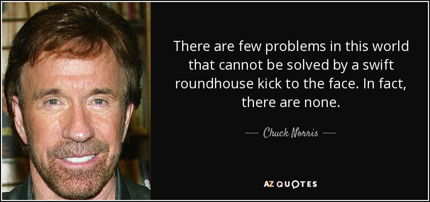 There are few problems in this world that cannot be solved by a swift roundhouse kick to the face. In fact, there are none. - Chuck Norris
