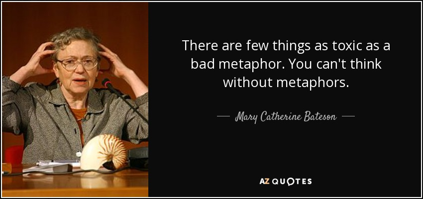 There are few things as toxic as a bad metaphor. You can't think without metaphors. - Mary Catherine Bateson
