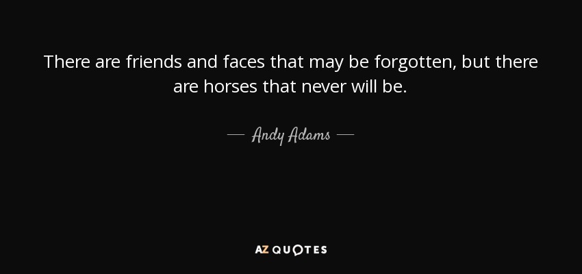 There are friends and faces that may be forgotten, but there are horses that never will be. - Andy Adams