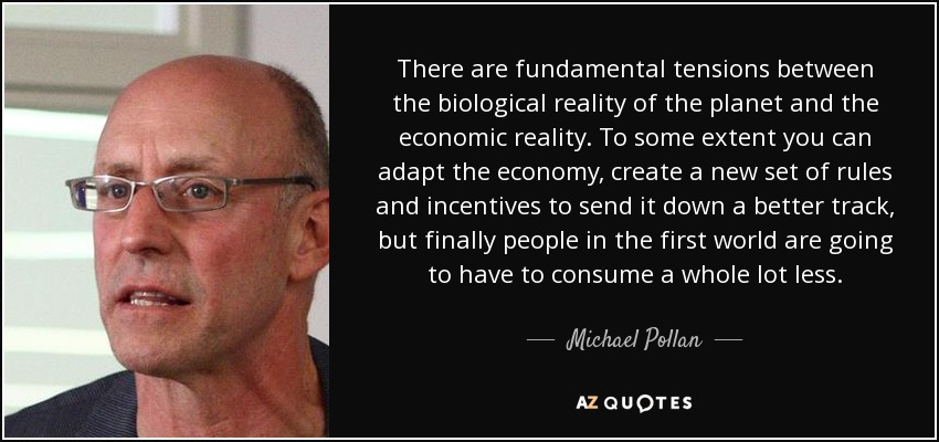 There are fundamental tensions between the biological reality of the planet and the economic reality. To some extent you can adapt the economy, create a new set of rules and incentives to send it down a better track, but finally people in the first world are going to have to consume a whole lot less. - Michael Pollan