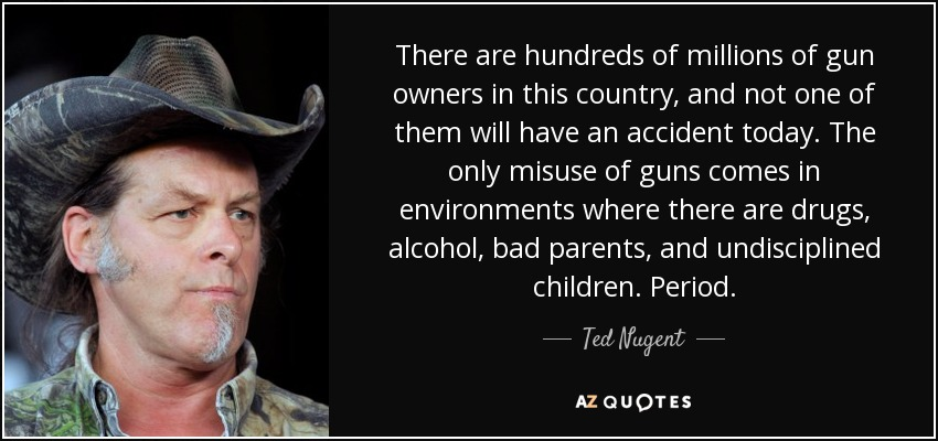 There are hundreds of millions of gun owners in this country, and not one of them will have an accident today. The only misuse of guns comes in environments where there are drugs, alcohol, bad parents, and undisciplined children. Period. - Ted Nugent