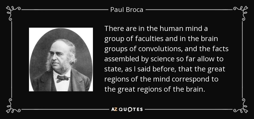 There are in the human mind a group of faculties and in the brain groups of convolutions, and the facts assembled by science so far allow to state, as I said before, that the great regions of the mind correspond to the great regions of the brain. - Paul Broca