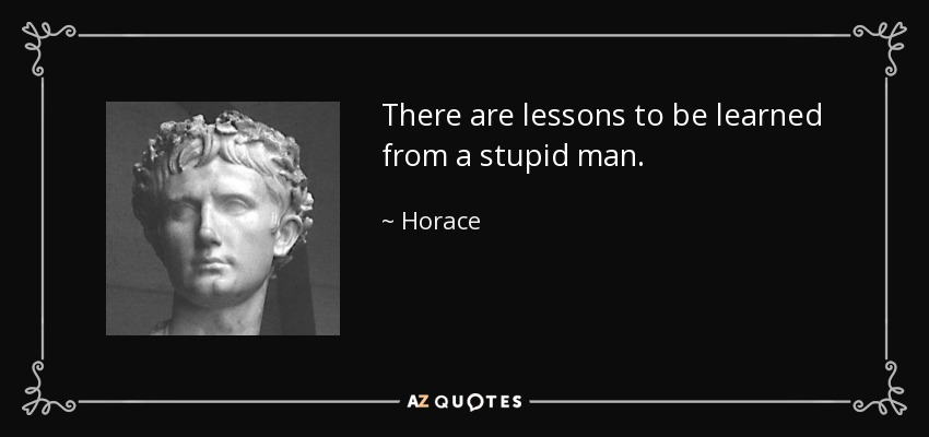 There are lessons to be learned from a stupid man. - Horace