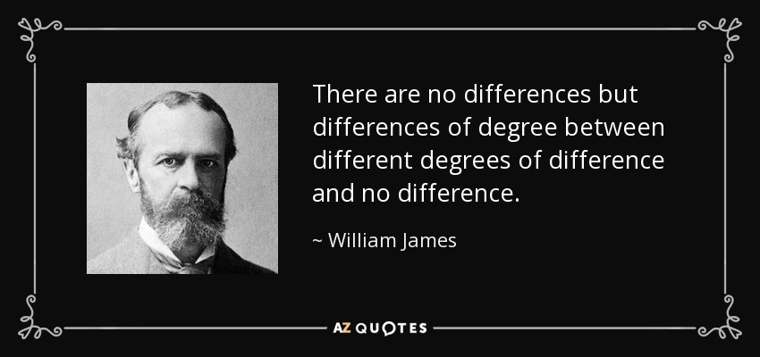 There are no differences but differences of degree between different degrees of difference and no difference. - William James