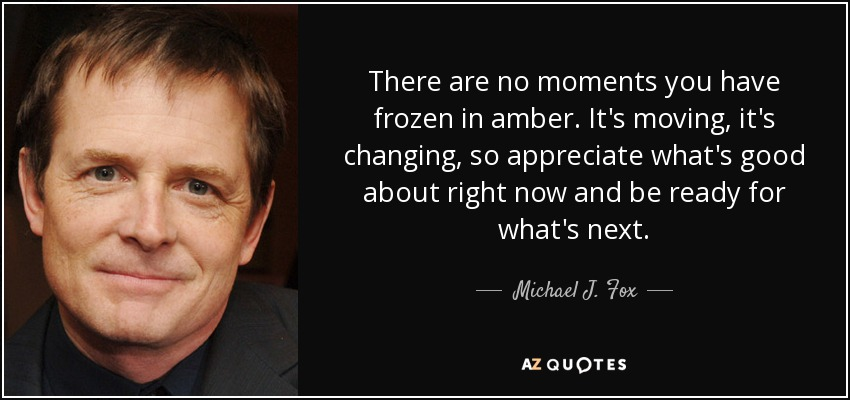 There are no moments you have frozen in amber. It's moving, it's changing, so appreciate what's good about right now and be ready for what's next. - Michael J. Fox
