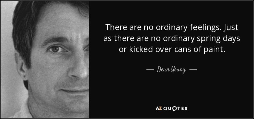 There are no ordinary feelings. Just as there are no ordinary spring days or kicked over cans of paint. - Dean Young