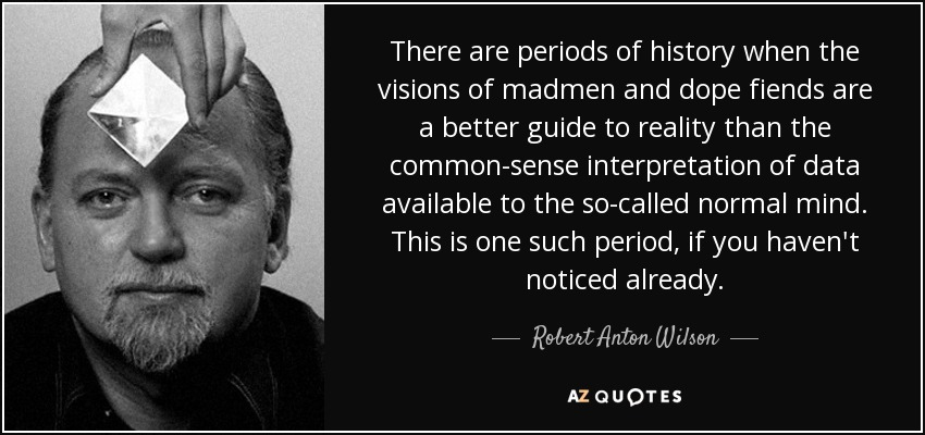 There are periods of history when the visions of madmen and dope fiends are a better guide to reality than the common-sense interpretation of data available to the so-called normal mind. This is one such period, if you haven't noticed already. - Robert Anton Wilson