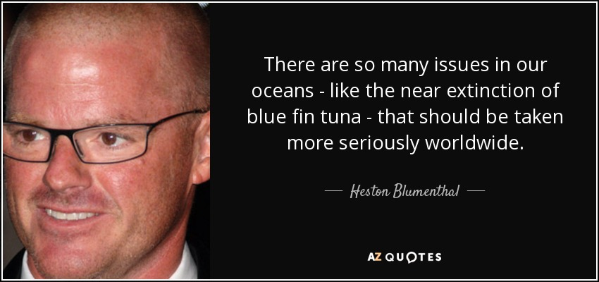 There are so many issues in our oceans - like the near extinction of blue fin tuna - that should be taken more seriously worldwide. - Heston Blumenthal