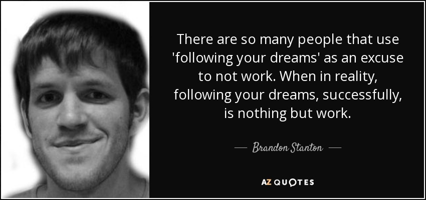 There are so many people that use 'following your dreams' as an excuse to not work. When in reality, following your dreams, successfully, is nothing but work. - Brandon Stanton