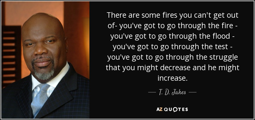 There are some fires you can't get out of- you've got to go through the fire - you've got to go through the flood - you've got to go through the test - you've got to go through the struggle that you might decrease and he might increase. - T. D. Jakes
