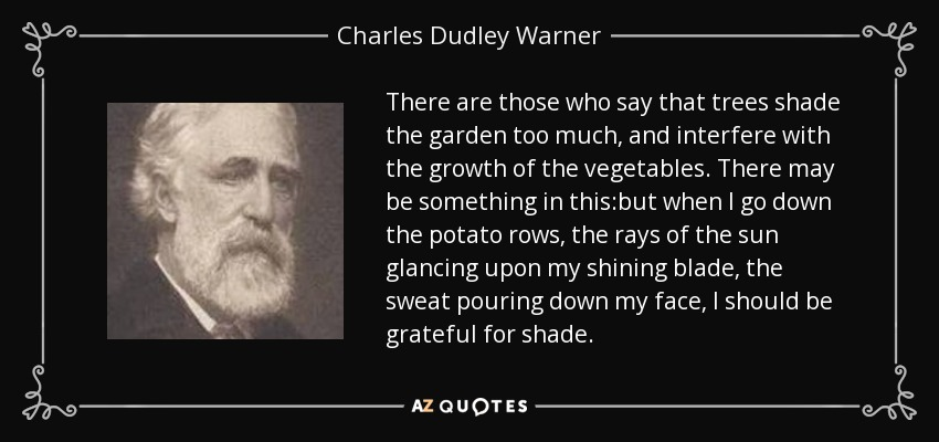 There are those who say that trees shade the garden too much, and interfere with the growth of the vegetables. There may be something in this:but when I go down the potato rows, the rays of the sun glancing upon my shining blade, the sweat pouring down my face, I should be grateful for shade. - Charles Dudley Warner