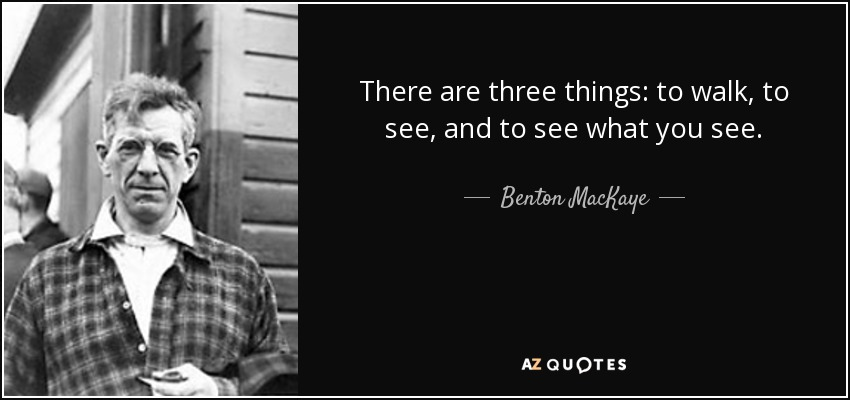 There are three things: to walk, to see, and to see what you see. - Benton MacKaye
