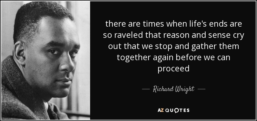 there are times when life's ends are so raveled that reason and sense cry out that we stop and gather them together again before we can proceed - Richard Wright