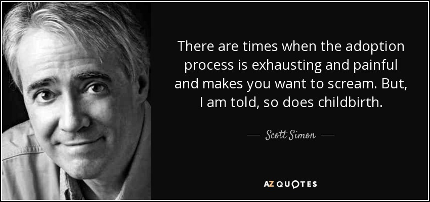 There are times when the adoption process is exhausting and painful and makes you want to scream. But, I am told, so does childbirth. - Scott Simon