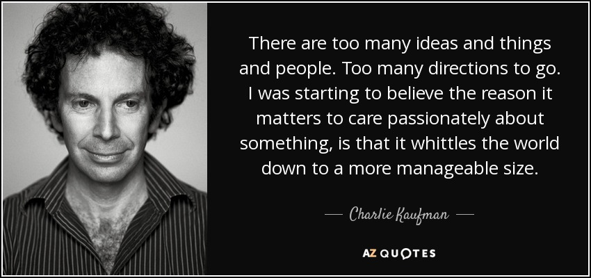 There are too many ideas and things and people. Too many directions to go. I was starting to believe the reason it matters to care passionately about something, is that it whittles the world down to a more manageable size. - Charlie Kaufman
