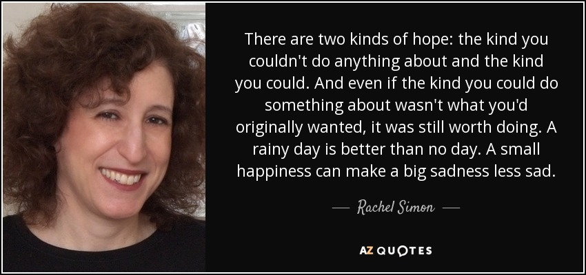 There are two kinds of hope: the kind you couldn't do anything about and the kind you could. And even if the kind you could do something about wasn't what you'd originally wanted, it was still worth doing. A rainy day is better than no day. A small happiness can make a big sadness less sad. - Rachel Simon
