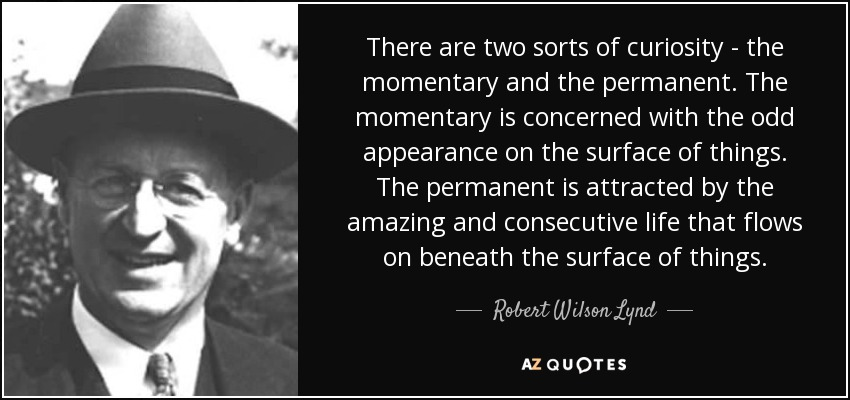 There are two sorts of curiosity - the momentary and the permanent. The momentary is concerned with the odd appearance on the surface of things. The permanent is attracted by the amazing and consecutive life that flows on beneath the surface of things. - Robert Wilson Lynd