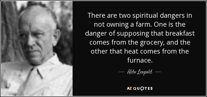 There are two spiritual dangers in not owning a farm. One is the danger of supposing that breakfast comes from the grocery, and the other that heat comes from the furnace. - Aldo Leopold