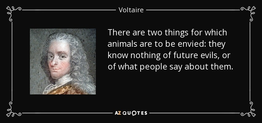 There are two things for which animals are to be envied: they know nothing of future evils, or of what people say about them. - Voltaire