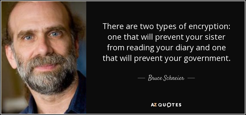 There are two types of encryption: one that will prevent your sister from reading your diary and one that will prevent your government. - Bruce Schneier