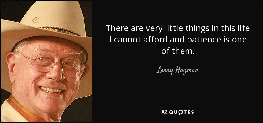 There are very little things in this life I cannot afford and patience is one of them. - Larry Hagman
