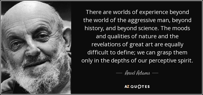 There are worlds of experience beyond the world of the aggressive man, beyond history, and beyond science. The moods and qualities of nature and the revelations of great art are equally difficult to define; we can grasp them only in the depths of our perceptive spirit. - Ansel Adams