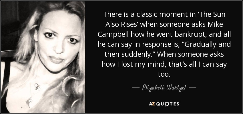 "There is a classic moment in 'The Sun Also Rises' when someone asks Mike Campbell how he went bankrupt, and all he can say in response is, ""Gradually and then suddenly."" When someone asks how I lost my mind, that's all I can say too. - Elizabeth Wurtzel"