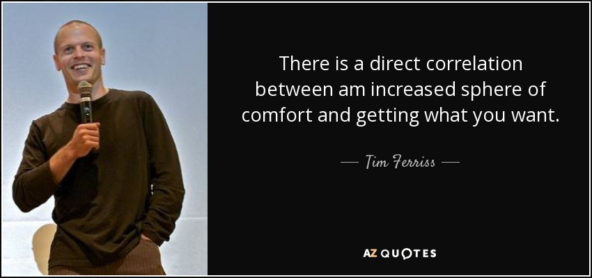 There is a direct correlation between am increased sphere of comfort and getting what you want. - Tim Ferriss