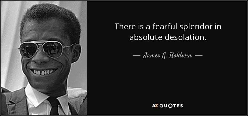 There is a fearful splendor in absolute desolation. - James A. Baldwin