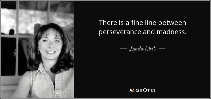 There is a fine line between perseverance and madness. - Lynda Obst