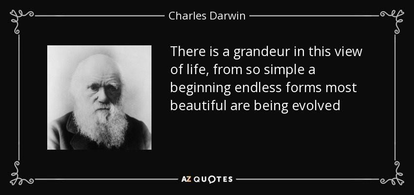 There is a grandeur in this view of life, from so simple a beginning endless forms most beautiful are being evolved - Charles Darwin