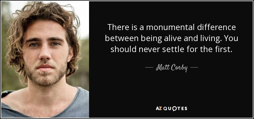 There is a monumental difference between being alive and living. You should never settle for the first. - Matt Corby