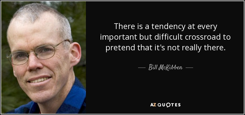 There is a tendency at every important but difficult crossroad to pretend that it's not really there. - Bill McKibben