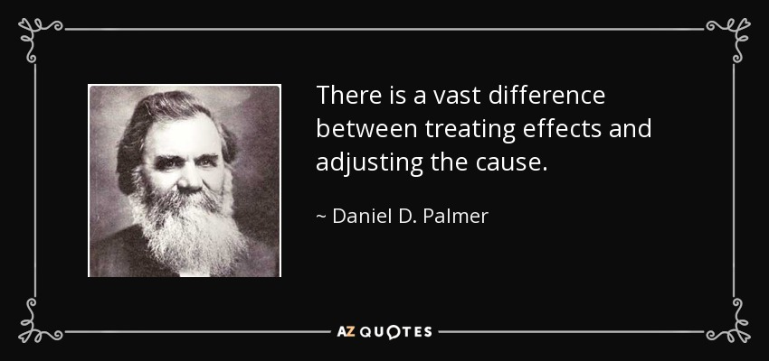 There is a vast difference between treating effects and adjusting the cause. - Daniel D. Palmer