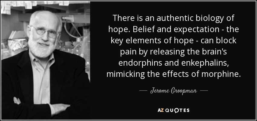 There is an authentic biology of hope. Belief and expectation - the key elements of hope - can block pain by releasing the brain's endorphins and enkephalins, mimicking the effects of morphine. - Jerome Groopman