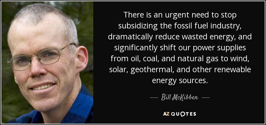 There is an urgent need to stop subsidizing the fossil fuel industry, dramatically reduce wasted energy, and significantly shift our power supplies from oil, coal, and natural gas to wind, solar, geothermal, and other renewable energy sources. - Bill McKibben