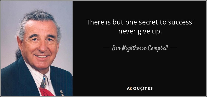 There is but one secret to success: never give up. - Ben Nighthorse Campbell