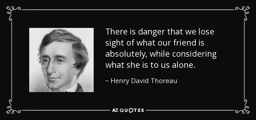 There is danger that we lose sight of what our friend is absolutely, while considering what she is to us alone. - Henry David Thoreau