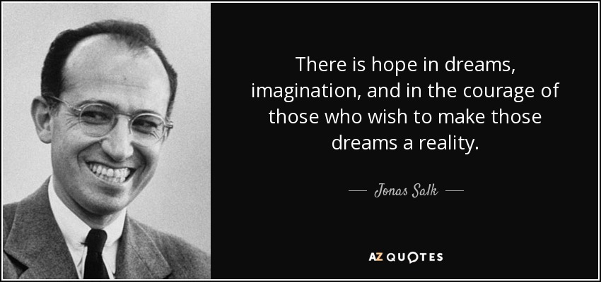 There is hope in dreams, imagination, and in the courage of those who wish to make those dreams a reality. - Jonas Salk