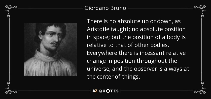 There is no absolute up or down, as Aristotle taught; no absolute position in space; but the position of a body is relative to that of other bodies. Everywhere there is incessant relative change in position throughout the universe, and the observer is always at the center of things. - Giordano Bruno