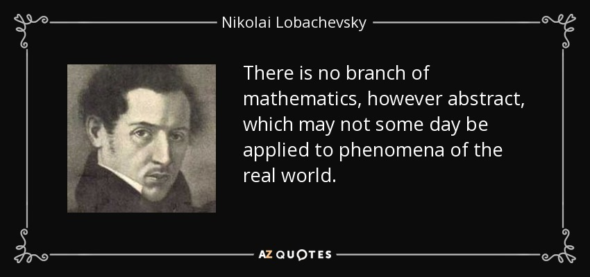 There is no branch of mathematics, however abstract, which may not some day be applied to phenomena of the real world. - Nikolai Lobachevsky