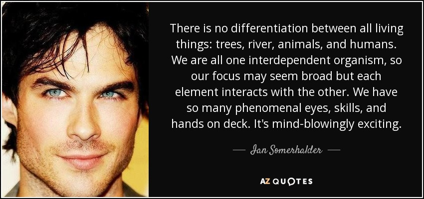 There is no differentiation between all living things: trees, river, animals, and humans. We are all one interdependent organism, so our focus may seem broad but each element interacts with the other. We have so many phenomenal eyes, skills, and hands on deck. It's mind-blowingly exciting. - Ian Somerhalder