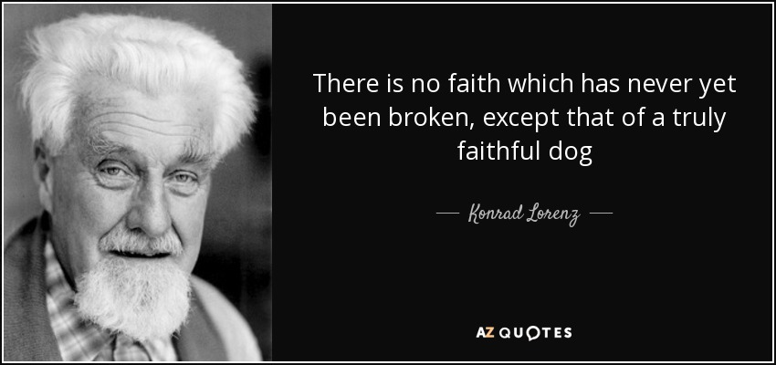There is no faith which has never yet been broken, except that of a truly faithful dog - Konrad Lorenz