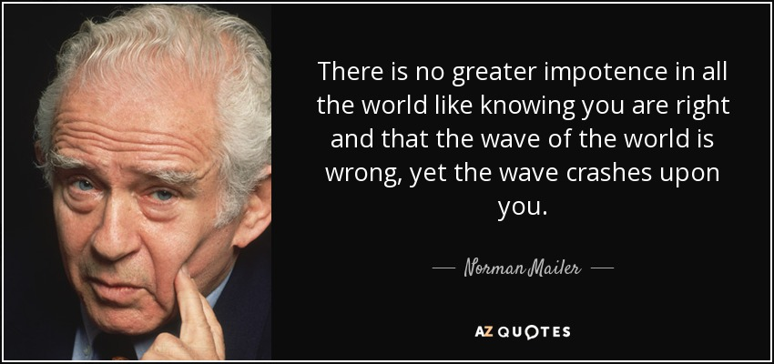 There is no greater impotence in all the world like knowing you are right and that the wave of the world is wrong, yet the wave crashes upon you. - Norman Mailer